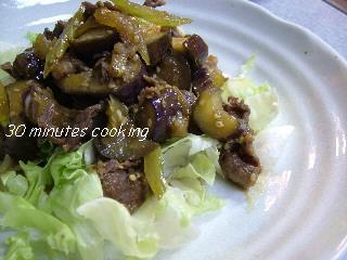 牛肉となすとセロリの甘辛炒め物
