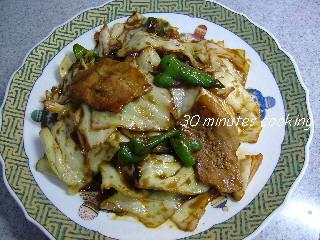 キャベツと豚肉の甘味噌炒め