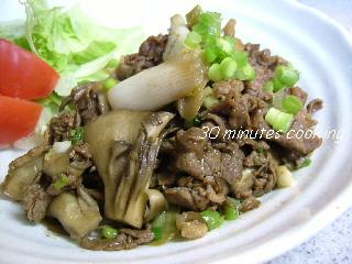 牛肉と舞茸のオイスターソース炒め