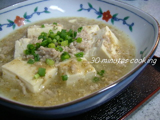 白い和風な麻婆豆腐
