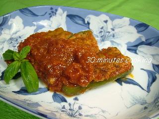 トマトソースDEピーマンの肉詰め