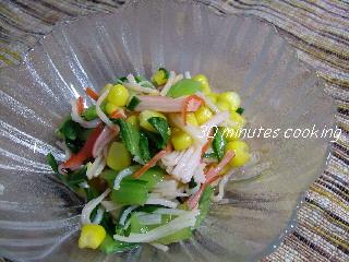 青梗菜とコーンとかにかまぼこのポン酢和え(三色和え)