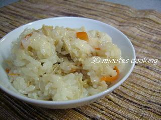 残り野菜と油揚げの混ぜご飯
