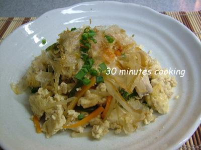 島豆腐とロース肉でチャンプルー