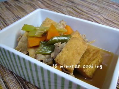 厚揚げと豚肉DEすき焼き味の煮物