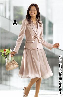 ニッセンのスーツ(テーラードジャケット+ジョーゼットタックスカート)(コサージュ・サテンリボン・胸当付)