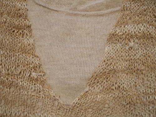 襟ぐり 編みっぱなし状態