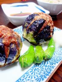 茄子の挽肉はさみ揚げ