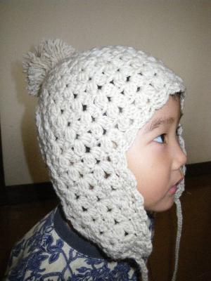 耳あてつき帽子(メリノウール)