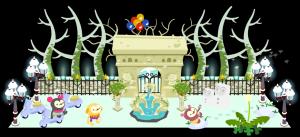 冬のライトアップの綺麗な噴水広場にて