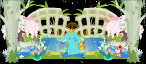 春・ゾウの水浴び