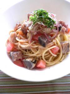 カツオとトマトの冷製パスタ
