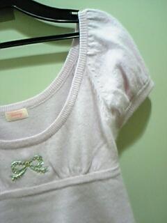deicy リボン刺繍 ビーズ 半袖ニット