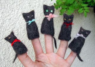 猫毛フェルト指人形
