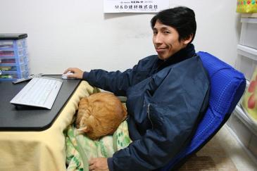 座椅子にのる伸二郎と虎太