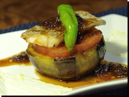 太刀魚と加茂茄子のステーキ1