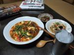 鶏肝と豆腐チリソース