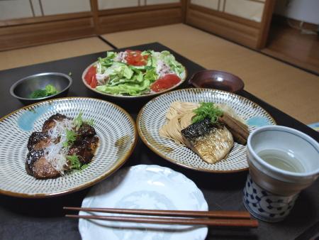 晩飯焼き鯖素麺1