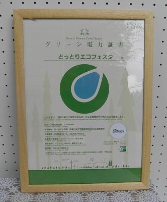 グリーン電力証書だよ。「とっとりエコフェスタ」って入ってるね。