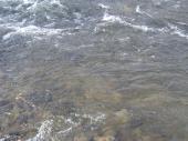 白くにごる川