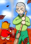 竹箒と言えばはいてもはいてもたまっていく落ち葉…。