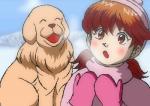 雪原に立つ少女と犬。