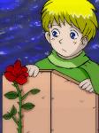 サン=テグジュペリ作「星の王子さま」より。王子さまとバラ。