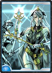 魔法護符を持つ女性