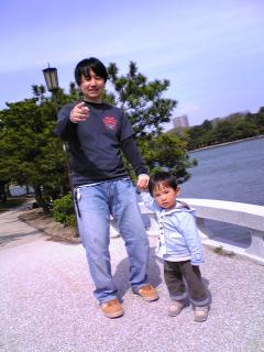 パパと大濠公園にて