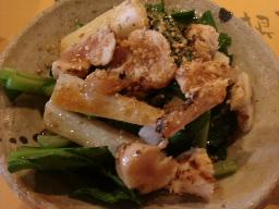 青梗菜と炙りチキンのサラダ
