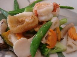 海鮮3種と野菜の炒め物