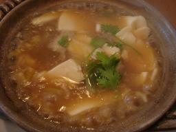 干し貝柱と豆腐の土鍋料理