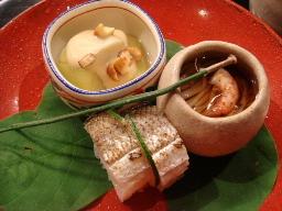 ナスの翡翠煮・エノキの煮浸し・カマスの棒寿司