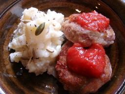 金時豆とゴボウのお焼き・さつまいもとジャガイモのサラダ