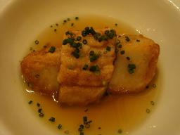 海老芋と穴子、コンソメスープ仕立てで