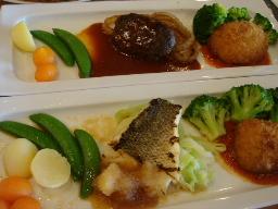 ハンバーグ&魚のポワレ&カニクリームコロッケ