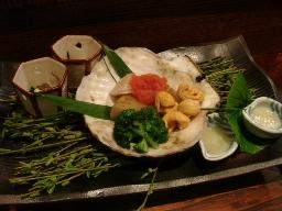 ホタテの藁蒸し焼・酒肴2種