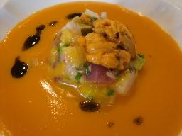 海の幸のカクテル キャロットオレンジスープと共に
