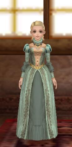 抹茶:サテン製ラフカラードレス