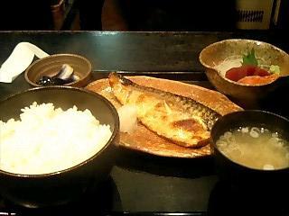 鯖の塩焼きと刺身定食