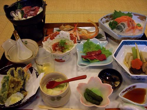 小田川温泉での夕食