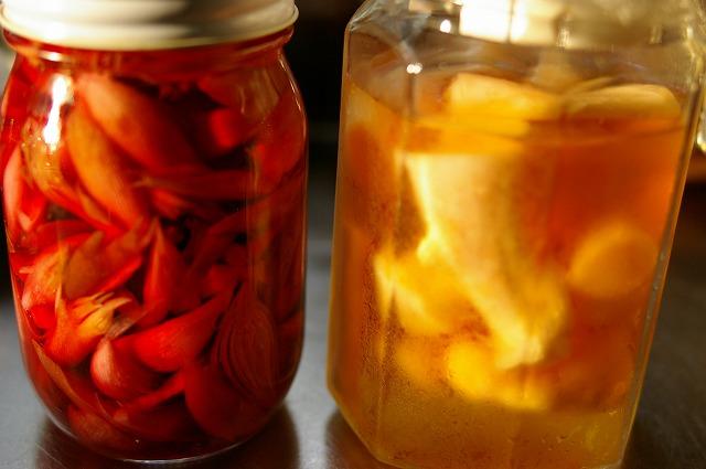 みょうがの甘酢漬けと新生姜の甘酢漬け