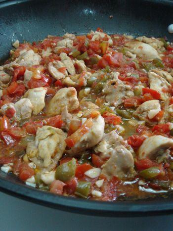 チキンのトマトグリーンペッパー炒め