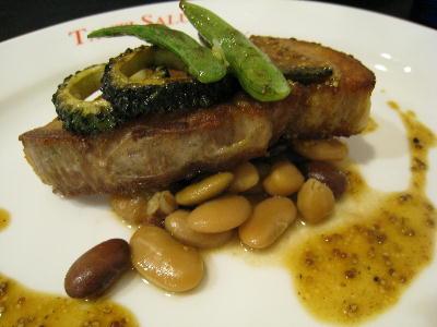 地豚バラ肉のカリカリ焼きマスタードソース@タンティサルティ