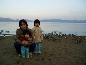 猪苗代湖で3人で