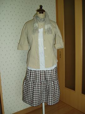 Wガーゼのブロックチェックティアードスカート