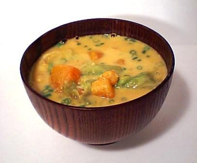 かぼちゃ豆乳味噌汁