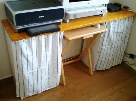 パソコンデスク棚カーテン