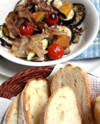 野菜グリルとパン