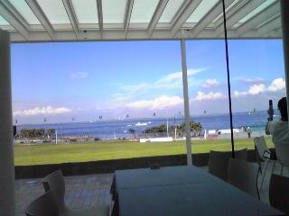 横須賀美術館レストラ<br />ン店内から海を望む